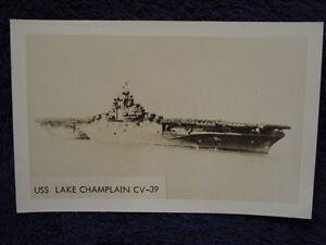 Old-RPPC-USS-LAKE-CHAMPLAIN-Aircraft-Carrier-US-Navy-CV39-CVA-USN-Photo-Postcard