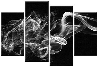 LARGE WHITE GREY BLACK ABSTRACT SMOKE CANVAS ART PICTURE WALL ART 4 PANEL 100 cm