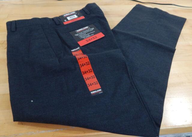 NWT Men's Kirkland Signature Non-Iron Comfort Dress Pant Classic Fit Tapered Leg