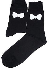 Great Novelty Gift White Bow Tie Socks