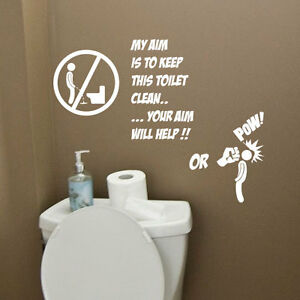 Toilet Bathroom Funny Wall Quote Stickers Words Phrases Lettering