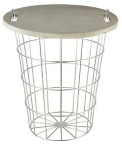 Esschert Design Tisch Korb Aufbewahrung Beistelltisch Holz Metall