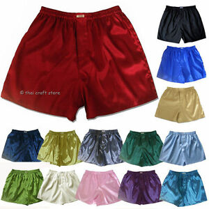 New-Thai-Silk-Boxer-Shorts-1-3-or-5-Pairs-M-L-XL-2XL-Men-039-s-Underwear-Boxers-Lot