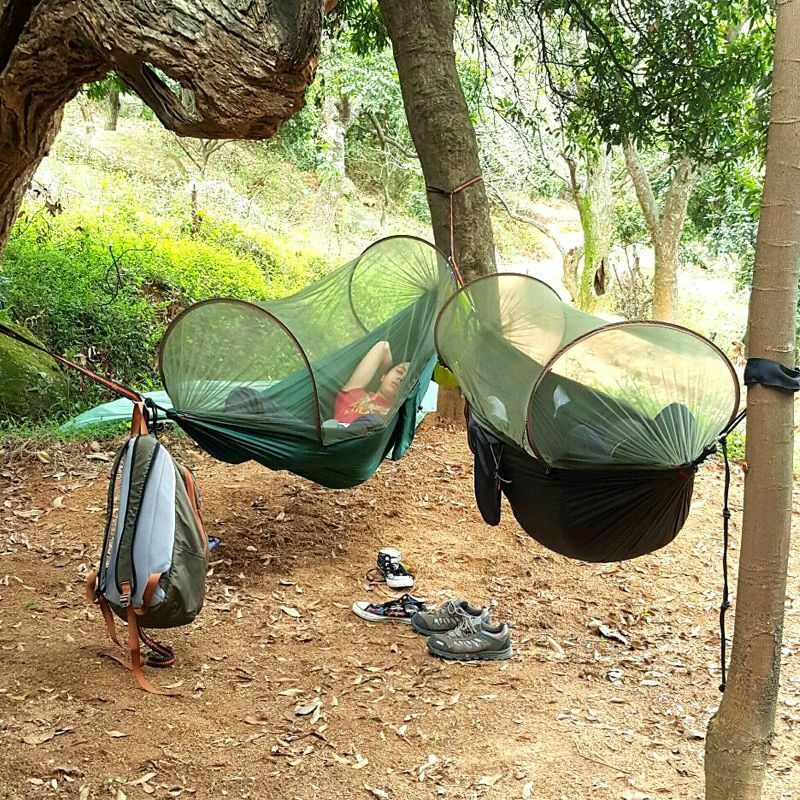 Camping Hammock Hanging Sleeping Bed With Mosquito Net Durable Parachute Fabric