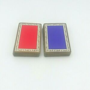 Vintage-Tiffany-amp-Co-Playing-Cards-2-Deck-Set-Red-amp-Blue-Purple-No-Case