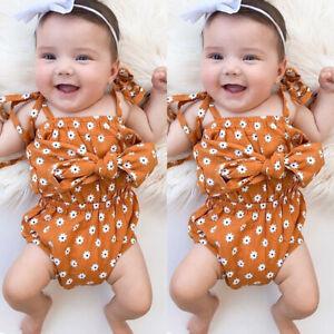 Newborn Toddler Baby Girl Bowknot Sleeveless Romper Bodysuit Jumpsuit Outfits