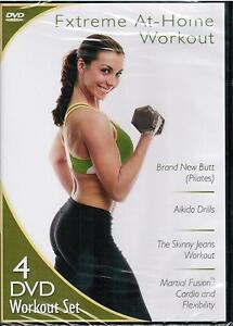 Extreme At-Home Workout 4-Disc Set 2011 DVD Exercise Pilates Martial Arts