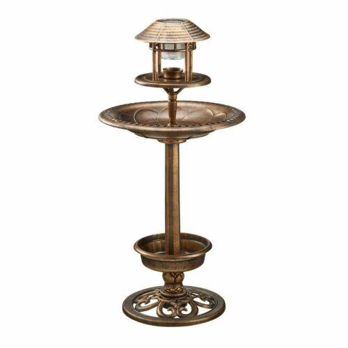 Bird Bath /& Feeder avec énergie solaire lumière jardin d/'ornement oiseaux Table Station