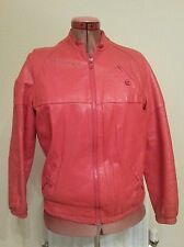 RED Womens Soft REAL LEATHER HIP ZIPPED JACKET Size M Chest c40ins c102cms