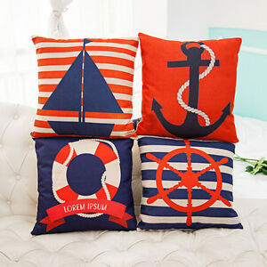 Home-Decor-Anchor-Sail-Boat-Rudder-Life-Buoy-Cotton-Linen-Cushion-Cover-LauR-45