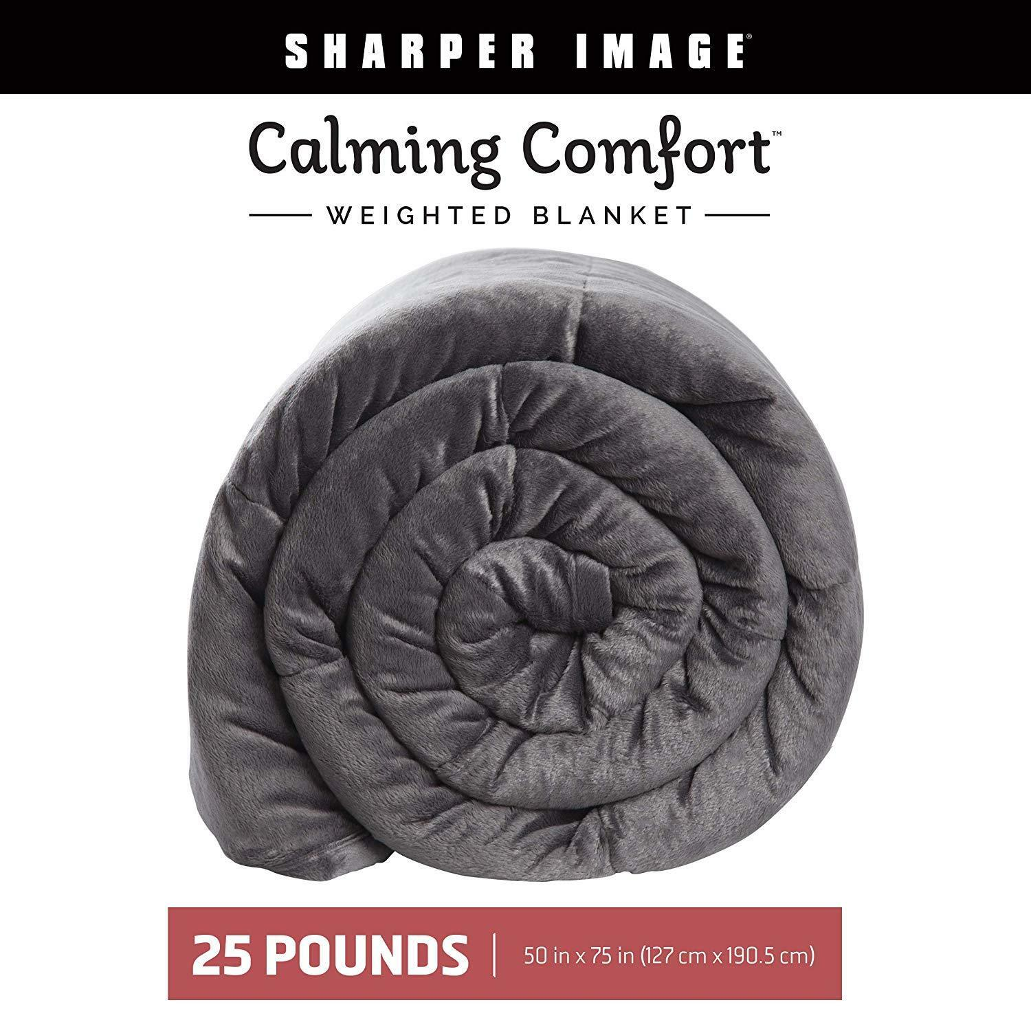 Calming Comfort By Sharper Image - Grey Weighted Blanket - 25 lbs