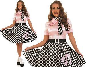 talla 40 8cd19 6c71a Detalles de Mujer Años 50 1950s Rock N Roll Disfraz Estilo 50s Caniche Ropa  FS