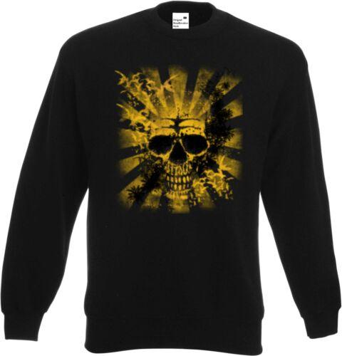 Sweatshirt in schwarz  Biker-,Gothic-/&Old School Motiv Modell Yellow Skull