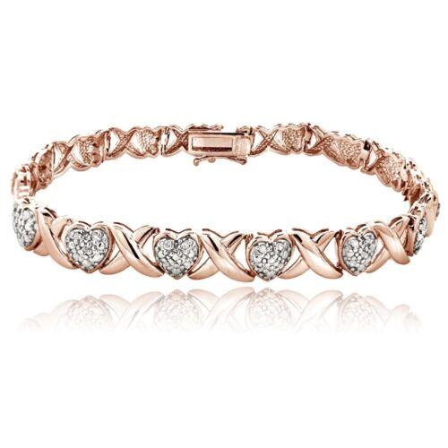 18K Rose Gold Plated Brass 1.00Ct TDW Diamond X /& Heart Bracelet