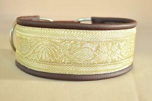Hundehalsband-Windhundhalsband-echt-Leder-mit-goldener-Borduere