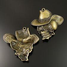 30pcs Antique Style Bronze Tone Alloy Skull Pendant Charms 23*20*2mm 39015