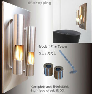 Gel-et-Ethanol-Cheminee-Fireplace-Fire-Tower-Acier-Inoxydable-Choisir-XL-XXL
