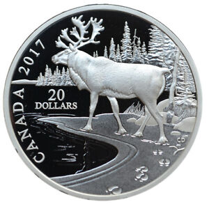 CANADA-20-Dollars-2017-Silver-Proof-1-oz-039-Nature-039-s-Impressions-Woodland-Caribou-039