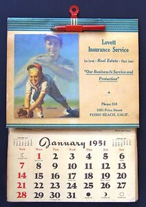 Calendario 1951.Details About 1951 Calendar With Lou Gehrig By Bill Medcalf