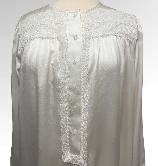 Vintage Christian Dior Large Lace Satin Calf Length Night Gown Long Sleeve