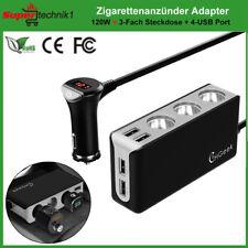 12V / 24V Auto Zigarettenanzünder KFZ 3-Fach Verteiler 4 USB Adapter Splitter