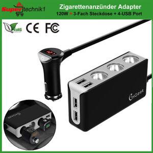 12V-24V-Auto-Zigarettenanzuender-KFZ-3-Fach-Verteiler-4-USB-Adapter-Splitter