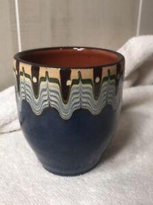 Bulgarian-Pottery-Troyan-Terracotta-4-Drinking-Glasses-Baking-Blue-Peacock-Eye