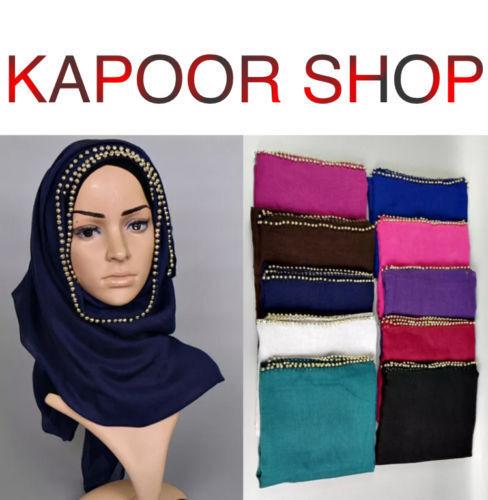 Le donne imitazione perla Headwear Amira islamica lunga Sciarpa Musulmana Hijab Avvolgere Scialli