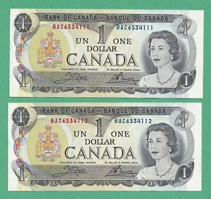 2-x-Sequential-1973-1-Bank-of-Canada-Notes-BAC6534111-2-UNC