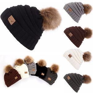Hommes-Femmes-Hiver-Chaud-bouffant-bonnet-laine-tricot-ski-crane-souple-caps