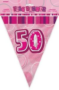 GLITZ-PINK-FLAG-BANNER-50TH-BIRTHDAY-3-6M-12-039-BIRTHDAY-PARTY-DECORATION