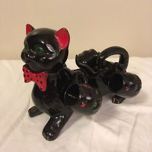Vintage-MCM-Redware-Pottery-Black-Cat-Sake-Set-Decanter-w-4-Cups-Halloween-FS