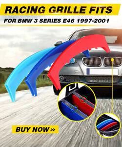 M-Farben-Streifen-Kuehlergrill-Nieren-Grille-Abdeckung-fuer-BMW-3er-E46-1997-2001
