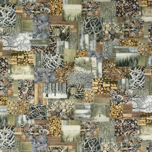 De coton Digital Pression Patchwork bois souches
