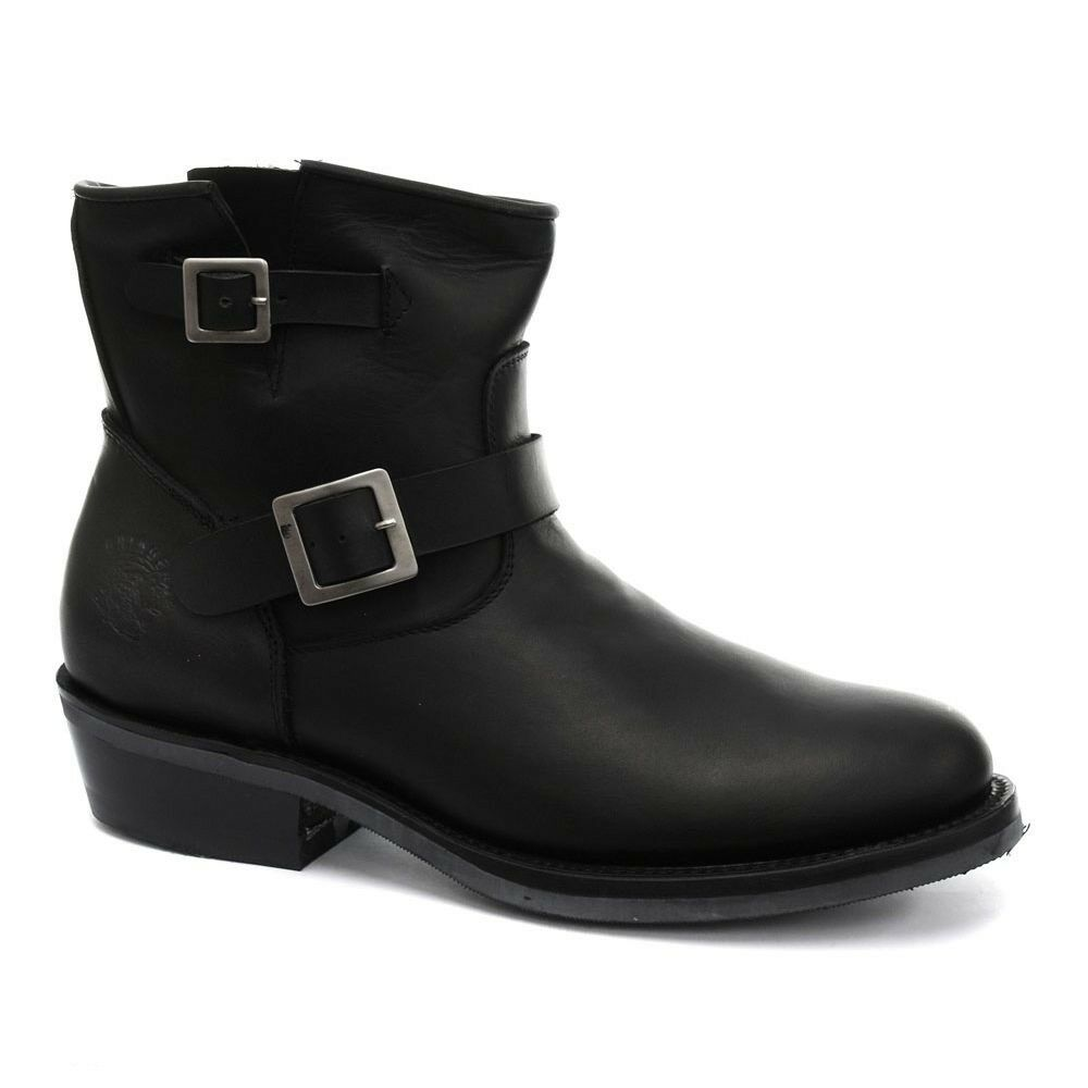 Grinders Charger Lo Mens Oily Full Black Biker Style Leather Ankle Boots