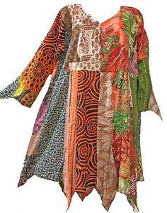 0dff102b07e Nwt FUNKY STUFF patch hippy hanky cotton TOP TUNIC DRESS 1X runs big ...