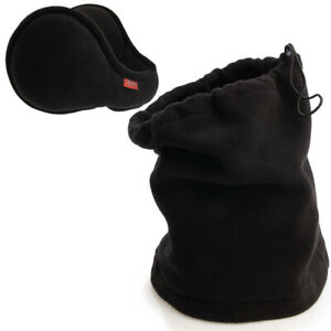 2pc Fleece Ear Warmer Neck Gaiter Set Unisex Cold Weather Accessories Men Women