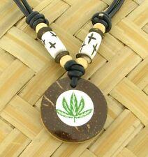 Kette mit Hanfblatt Weed Anhänger aus Kokos Goa Schmuck