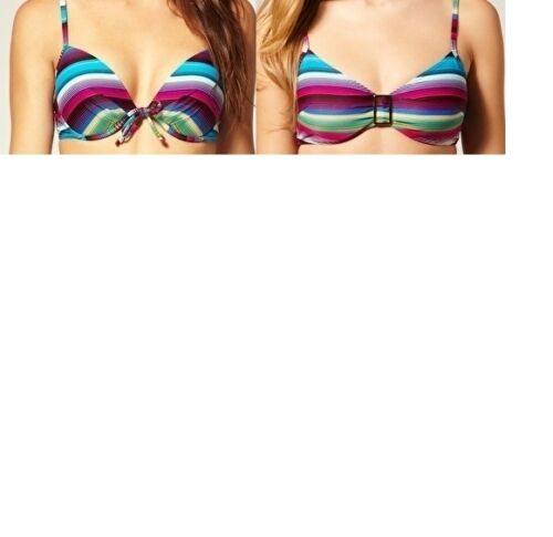 LEPEL ISLA STRIPE PADDED PLUNGE OR UNDERWIRED NON PADDED BIKINI TOP BNWT £27