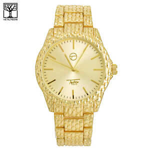 Details about Men's Hip Hop Gold Plated CZ Metal Band Watch Stainless Steel  Back WM 8588 G