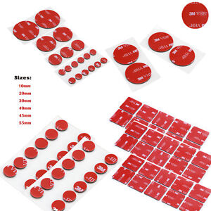 3M-10-55mm-Red-Square-Round-Double-Sided-Foam-Tape-Pad-Mounting-Strong-Adhesive