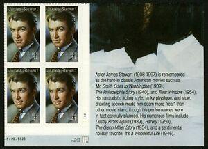 #4197 41c James Stewart, Placa Bloque [P1111 LR ] Nuevo Cualquier 5=