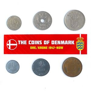 DENMARK-SET-OF-6-COINS-1-2-5-10-25-ORE-1-KRONE-DANISH-KING-FREDERICK-IX