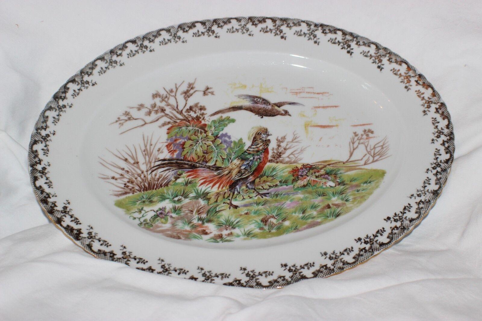 LIMOGES FRANCE 1 X Grand Ovale Faifan Plateau Platter Oval Pheasant Flying