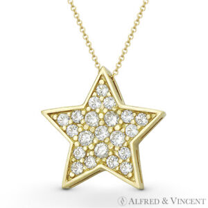 011d0bd2b823a 5-Point Star Celestial Charm CZ Crystal Pave Necklace Pendant in 14k ...