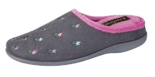Ladies Sleepers Isabella Floral Mule Indoor Slippers Grey//Pink Synth.Suede