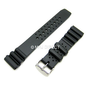Black-Rubber-Resin-Divers-Watch-Strap-Fits-Citizen-Seiko-Type-Watch-18-20-22mm