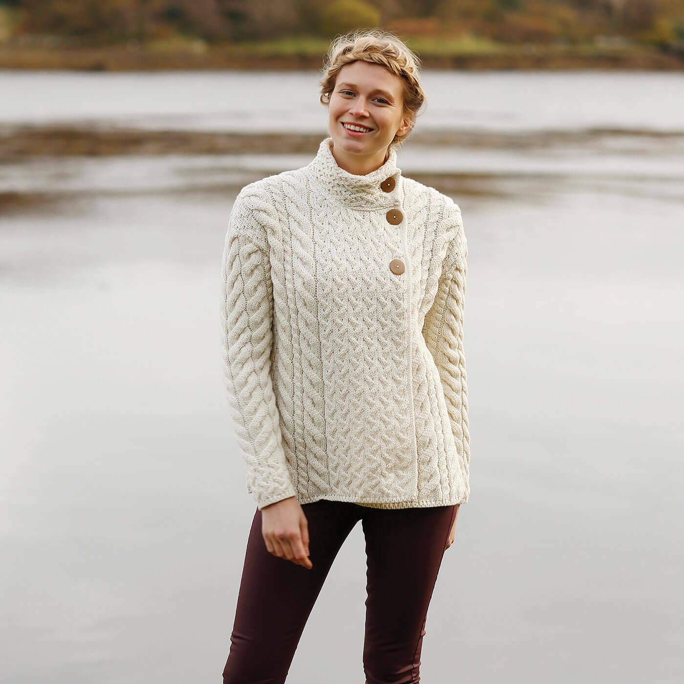 Women's Aran 3 Button Wool Sweater - Natural, Imported from Ireland, B840-367