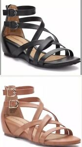 19496f705fa2 Image is loading Croft-amp-Barrow-Gladiator-sandals-buckles-accent-back-