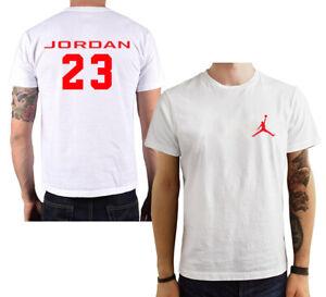 T-Shirt-Basket-Jordan-Air-23-maglia-maglietta-nera-bianca-rossa-personalizzata